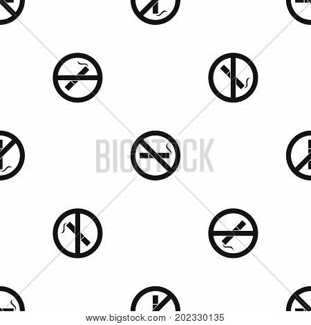 No smoking sign pattern repeat seamless in black color for any design. Vector geometric illustration