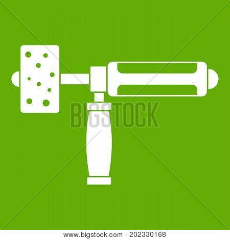 Precision grinding machine icon white isolated on green background. Vector illustration