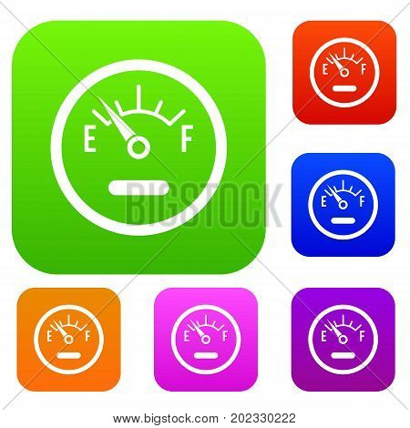 Fuel sensor set icon in different colors isolated vector illustration. Premium collection