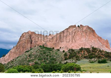 cathedral rock formation at garden of the gods national natural landmark in colorado springs colorado