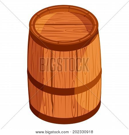 Old wooden barrel isolated on white background winery alcohol beer oak cask vector illustration. Container drink storage keg brown wooden barrel.