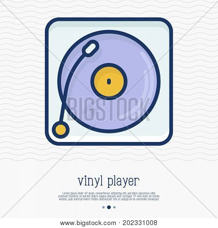 Vinyl player record thin line icon. Gramophone. Simple vector illustration of DJ music party symbol.