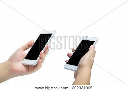 young asian femail hand holding and using smartphone isolated on white background.