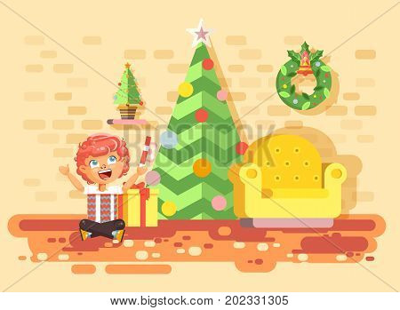 Stock vector illustration cartoon character child redhead boy sit under Christmas tree, unwrap gifts in home interior room happy New Year and Christmas celebrate party flat style element motion design