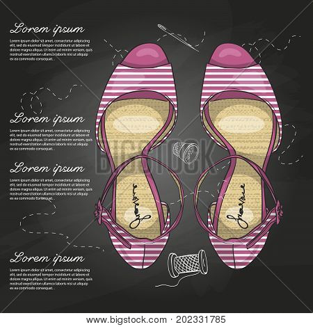 Vector color womens striped sandals with stiletto heel on a chalk board