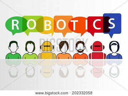 Robotics and robots concept with text on white background
