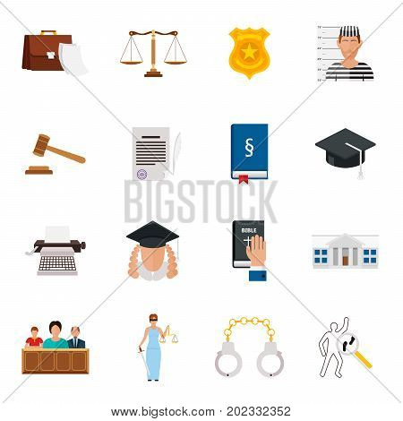 Law icon flat set with lawyer jail court jury isolated vector icon set