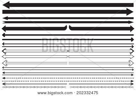 Set long arrow icon black and white. sign design, Arrow Icon Vector illustration
