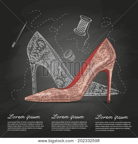 Vector sketch color womens reptile leather stilettos on a chalk board