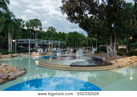 Brisbane, Australia - July 9, 2017: Lagoon South Bank is a popular public swimming lagoon in the South Bank parklands.