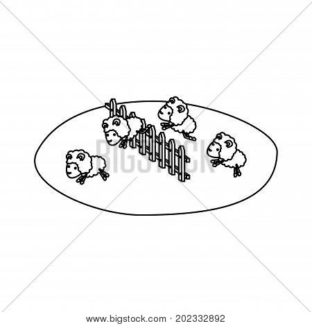sheeps jump wooden fence grass sketch silhouette on white background vector illustration