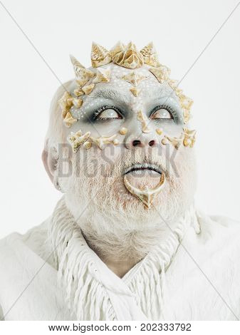 Demon With Silver Beard On White Background