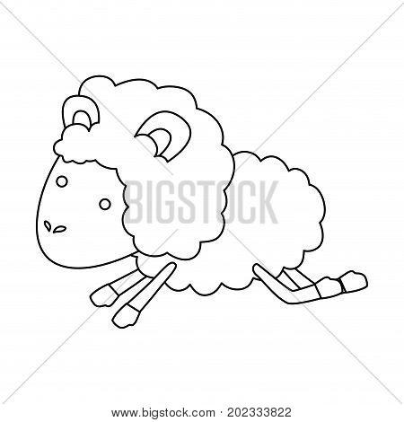 sheep animal jumping sketch silhouette on white background vector illustration