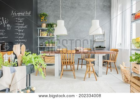Dining Room With Chalkboard Wall