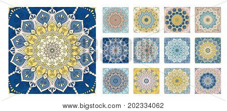 Flower pattern tiles set. Intricate floral ornament. Round decorative element in square shape. One design - different coloring. For wall, floor, interior, greeting card, invitation. Vector background.