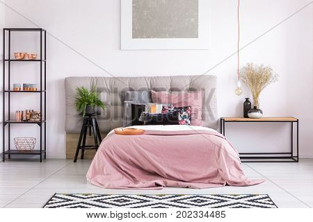 King-size Bed With Pink Quilt
