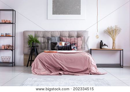 Homely Bedroom With Copper Phone