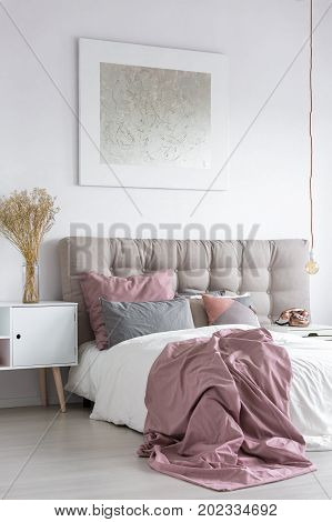 Pastel Bedroom With Grey Painting