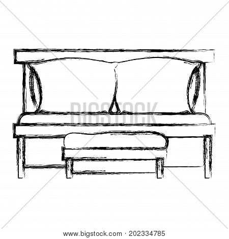 sofa bed with double pillows and wooden chair blurred silhouette on white background vector illustration