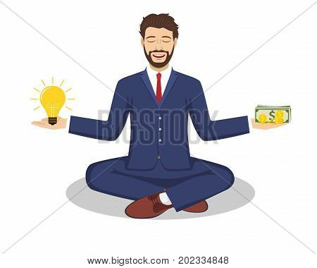 Businessman found his balance with idea and money. Concept of business balance. Vector illustration in flat style