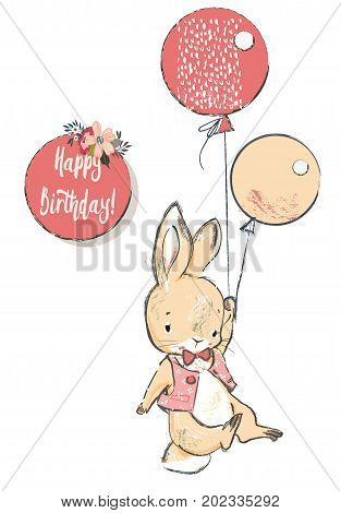 cute little hare with balloons. vector illustration