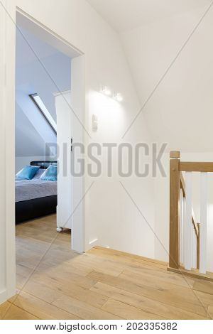 Modern Hallway With Bedroom Door
