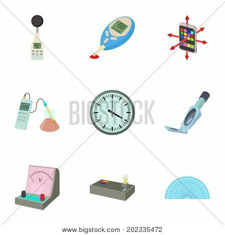 Measuring device icons set. Cartoon set of 9 measuring device vector icons for web isolated on white background