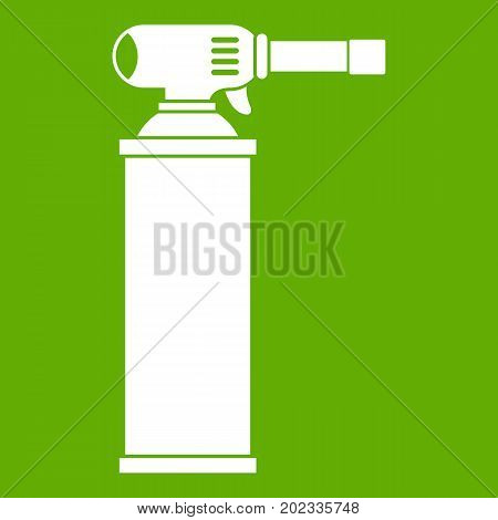Gas cylinder icon white isolated on green background. Vector illustration
