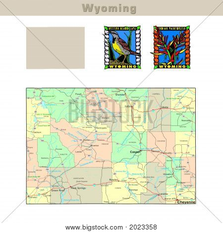 USA states series: Wyoming. Political map with counties roads state's contour bird and flower poster