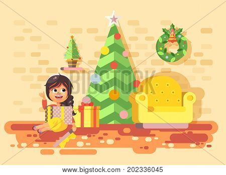 Stock vector illustration cartoon character child brunette girl, schoolgirl sit in room with Christmas tree, happy New Year and Christmas, gifts, rejoice celebrate flat style element for motion design