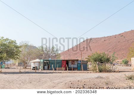 BERGSIG NAMIBIA - JUNE 28 2017: A shebeen in Bergsig a small village in the Kunene Region of Namibia