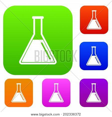 Test tube with oil set icon in different colors isolated vector illustration. Premium collection