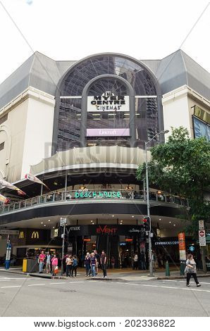Brisbane, Australia - July 9, 2017: The Meyer Centre is a large shopping mall on Elizabeth Street and Queen Street Mall in central Brisbane.