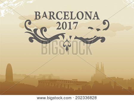 barcelona city skyline vector illustration design cityscape