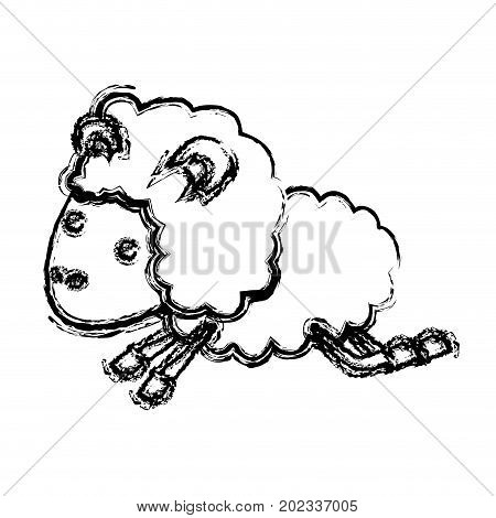 sheep animal jumping blurred silhouette on white background vector illustration