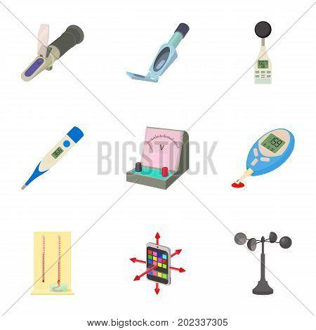 Electronic instrument icons set. Cartoon set of 9 electronic instrument vector icons for web isolated on white background