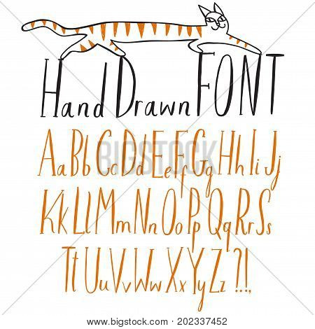 Hand drawn creative vector ABC letters set. Upper and lower case. Doodle comic font for your design.