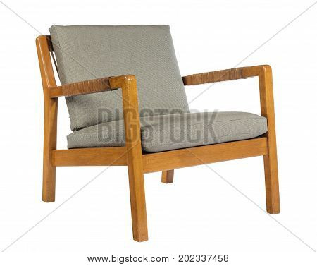 Arm chair sixties style or retro wooden frame upholstered on white background with clipping path