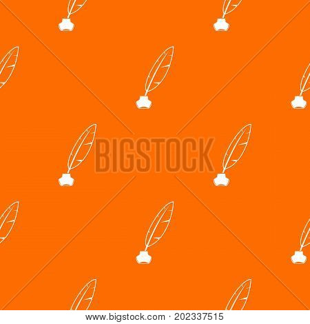 Ink with pen pattern repeat seamless in orange color for any design. Vector geometric illustration