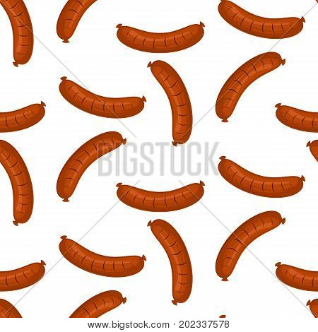 Hot dog, vector seamless pattern with cute fast food symbols isolated on white. Stock vector.