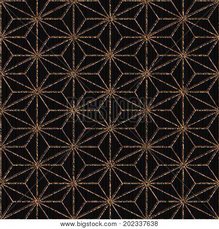 Seamless Pattern Based On Japanese Motif. Golden.