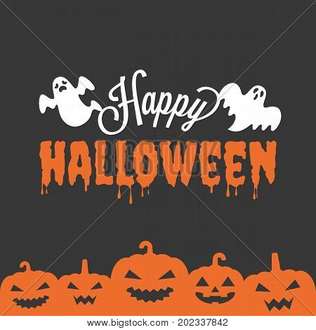 happy Halloween headline with ghost and jack o lantern in silhouette design, for poster or banner