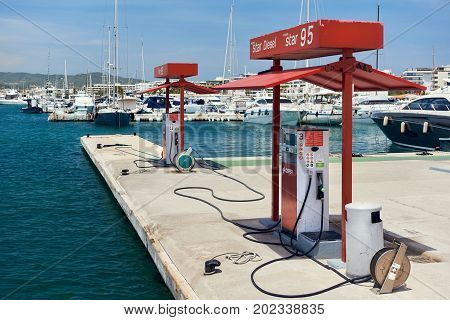 Ibiza Spain - June 10 2017: Cepsa Floating fuel station in Ibiza. Spanish multinational oil and gas company Cepsa was founded in 1929. Balearic Islands. Spain