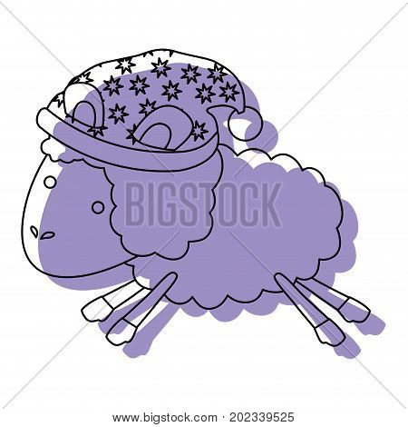 sheep animal with sleeping cap jumping purple watercolor silhouette on white background vector illustration