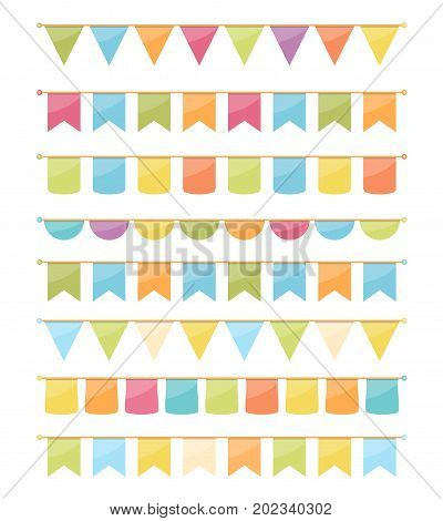 Colorful bunting for decoration of invitations, greeting cards etc, bunting flags, vector eps10 illustration