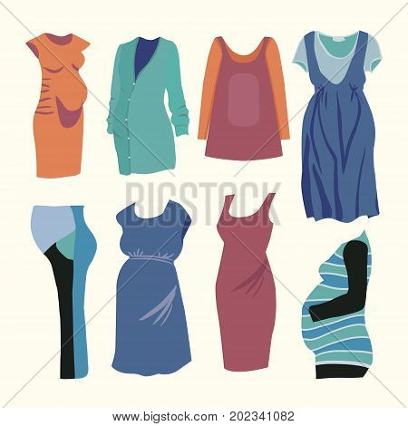 Vector illustration collection of fashion clothing for stylish Pregnant woman. Fashion boutique for Pregnant woman fashion look.