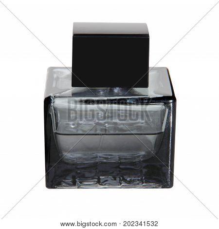 Black perfume bottle taken closeup isolated on white background.