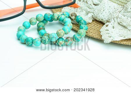 Variscite Round Bead Stretchy Bangle Bracelets on on white background