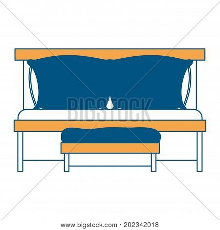 sofa bed with double pillows and wooden chair color section silhouette on white background vector illustration