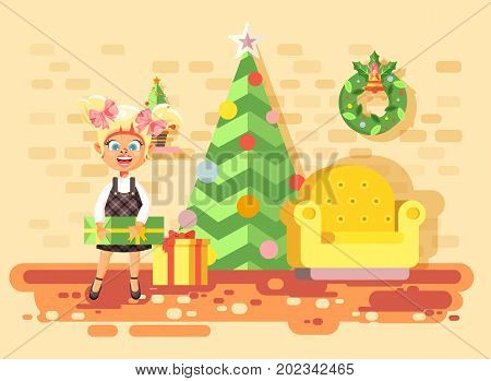 Stock vector illustration cartoon character child blonde girl, schoolgirl bring gifts in room with Christmas tree, happy New Year and Christmas, rejoice celebrate flat style element for motion design